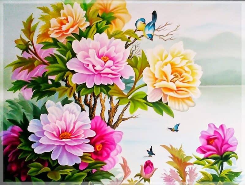 tranh hoa mẫu đơn tượng trưng cho sự phú quý, sung túc